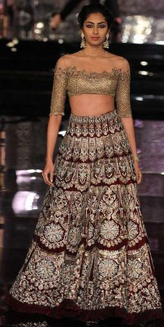 Gorgeous off-shoulder lehenga blouse by Manish Malhotra at India Couture Week 2016 via @topupyourtrip