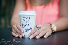 This is my signature Senior Session shot. Using a Starbucks cup, it shows the senior's name, grad class and class ring.