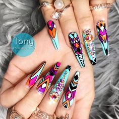 Nail art Christmas - the festive spirit on the nails. Over 70 creative ideas and tutorials - My Nails Fabulous Nails, Gorgeous Nails, Pretty Nails, Dope Nails, Fun Nails, Acrylic Nail Tips, Stiletto Nail Art, Coffin Nails, Best Nail Art Designs
