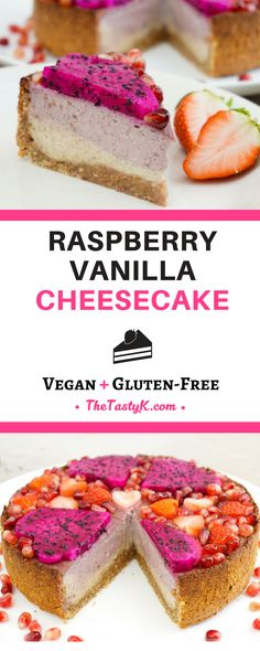 vegan recipes | gluten free | dairy free -- This delicious Raspberry Vanilla Cheesecake hits all the check marks! It's incredibly creamy, super tasty, easy to prepare, refined sugar-free, beautiful, and on top of all this also a healthy alternative to any
