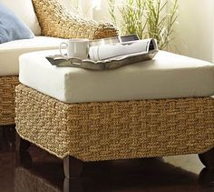 """Holbrook Seagrass Ottoman from Pottery Barn, 28"""" wide x 23.5"""" deep x 16"""" high, made of handwoven seagrass with handcrafted frames constructed of rattan and kiln dried hardwood, seat cushion has a highly resilient 5"""" thick foam core, cushion cover unzips for easy machine washing"""