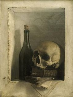 Wiertz, Antoine - Still Life with skull - Neoclassicism - Still Life - Oil on canvas