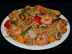 Chow mein con camarones y pollo - comida china - YouTube