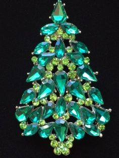 "anthony attruia REPLICA Green Austrian Crystal CHRISTMAS TREE BROOCH JEWELRY 2+"" #Unbranded"