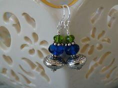 Lapis blue, Peridot green & Silver Bali bead Crystal Earrings