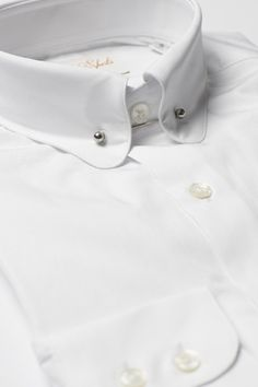 Mens White Pin Collar Shirt Penny Collar