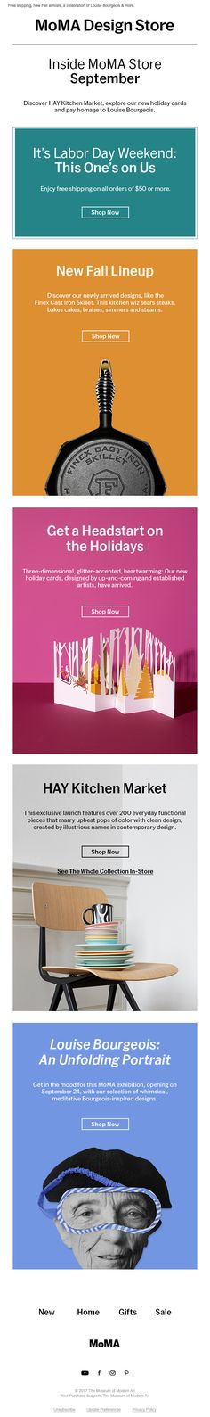 Beautiful email design from MoMA Html Email, Email Design Inspiration, Messages, Head Start, Moma, Home Gifts, Mobiles, Email Newsletters, Marketing