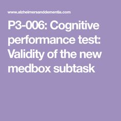 Cognitive performance test: Validity of the new medbox subtask Cpt Codes, Coding, Programming