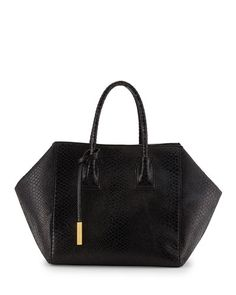 Stella McCartney  Cavendish Boston Faux-Python Tote Bag, Black