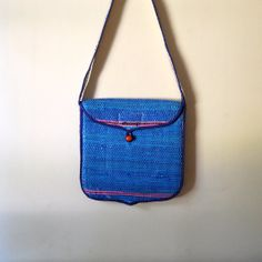 Vintage Bag  Handmade Tropical Blue and White Woven by awildtonic, $15.00