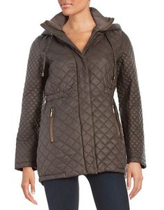 French Connection Hooded Quilted Coat Women's Taupe Large