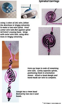 Spiraled Wire and Beads Earrings made with WigJig jewelry making tools and jewelry supplies.