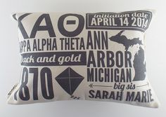 Personalized Kappa Alpha Theta Infographic Pillow With Inserts - Sorority Gift - Bid Day Gift on Etsy, $35.00