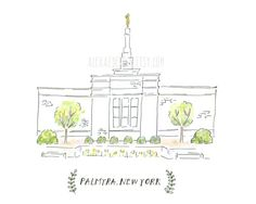 Palmyra New York LDS Temple - Watercolor Painting    Remeber to also check out: MormonFavorites.com