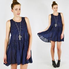 vtg 90s grunge SHEER floral EMBROIDERED TIER RUFFLE dolly BABYDOLL mini dress S $78.00