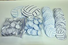 Custom order Volleyball confetti, party favor and table markers for an August wedding, the couple met playing volleyball....gotta love it!