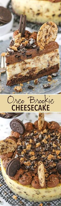 Dangerously chocolate-y!  Oreo Brookie Cheesecake - a layer of brownie, chocolate chip cookie cheesecake and Oreo whipped cream!