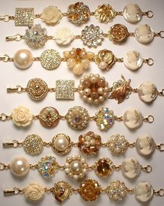 Vintage Topaz & Ivory Pearl and Rhinestone Gold Bridesmaids Bracelets, Heirloom Cluster Earring Bracelets Set of 8 One-of-a-Kind