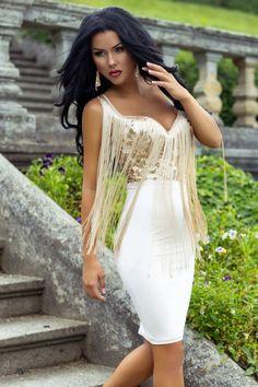 £: Abito bianco-corpino in paillettes dorate frange sul davanti - ABITI - Abbigliamento » Moda Mania