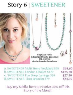 Sabika Jewelry Story of the Month in May! Contact me, Stephanie Fisher, at: stephaniesabika@g... or 412-915-5982