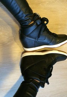 Nike Sky Hi Dunks in black leather. I love these! I definitely need them!