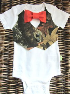 Baby Boy Clothes Baby Camoflauge Orange Bow Tie by SewLovedBaby