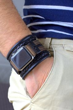 Apple Watch Band, Handmade Black Strap, Adapter for Apple Watch series, Gift for him, Boyfriend Gift Apple Watch 1, Apple Watch Cuff, Apple Watch Leather Strap, Apple Watch Bands, Style Sportif, Swiss Army Watches, Leather Wristbands, Bracelet Cuir, Moda Masculina