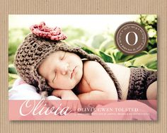 Modern Inital Seal - Custom Baby Announcement Photo Card for Girl, 5x7 DIY PRINTABLE