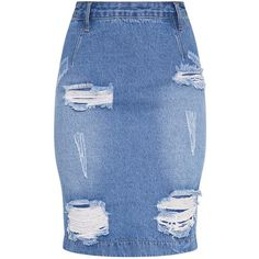 Carlyann Light Wash Super Distress High Waisted Denim Midi Skirt ($40) ❤ liked on Polyvore featuring skirts, high-waisted skirts, high waisted knee length skirt, high-waist skirt, mid calf skirts and knee length denim skirt