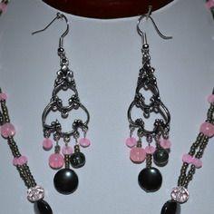 Boucles d'oreilles argent , grise et rose