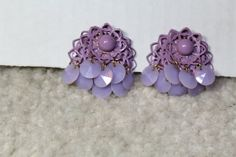 Vintage Lavender flower clip on earrings by purrfectstitchers, $5.00