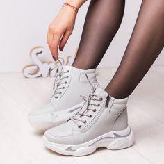 Sneakersi Piele dama albi Oharia