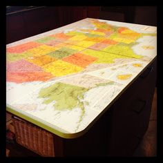 Love this idea of using a map on the table top! (Decoupage?) *Random Thoughts of a SUPERMOM!*: Project Airstream