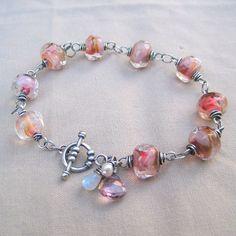 Lampwork Bracelet Moonstone Pearl Gemstone Sterling by loriyab, $ 125.00