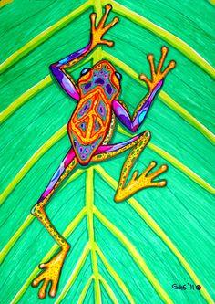 Peace Frog - marker & acrylic by ©Nick Gustafson (via FineArtAmerica)