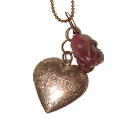 Ruby Necklace 02 Chain Red Frog Truth Dare Heart Locket Copper Gemstone Crystal Healing Animal 32  Price : $95.00 http://www.idigcrystals.com/Necklace-Locket-Gemstone-Crystal-Healing/dp/B009RWMJSI