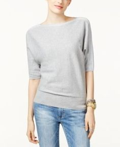 Michael Michael Kors Petite Cotton Metallic-Trim Dolman-Sleeve Sweater - Tan/Beige P/XS