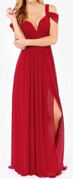 Red Split Maxi Evening Dress ❤︎