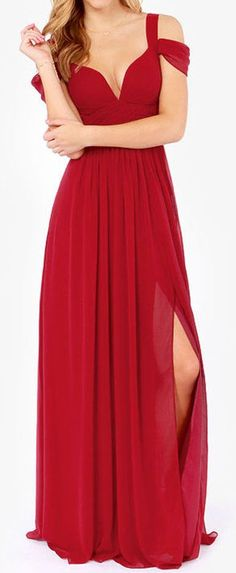Red Split Maxi Evening Dress ❤︎