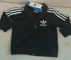 Adidas W41982 Firebird Collared Zippered Infant Track Suit Black White Stripes #adidas #Everyday