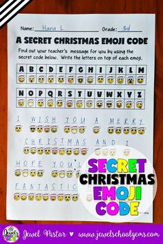 Christmas Activities ★ Emojis Activities ★ Secret Christmas Emoji Code ★ Emojis ★ A SECRET CHRISTMAS EMOJI CODE contains a secret code activity that can come handy during the crazy Christmas season! You get two kinds of sheets: one that has the secret message in Christmas emoji code and another that has the answer key. The answer key can be shown to the students through the interactive whiteboard. Click through to see it in my TpT store!