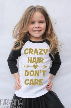 Gold GLITTER Crazy Hair Don't Care Toddler Raglan Shirt *FREE SHIPPING by PureZenActive on Etsy https://www.etsy.com/listing/250439915/gold-glitter-crazy-hair-dont-care
