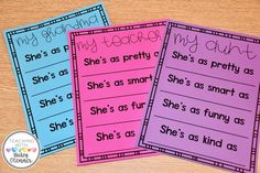 Mother's Day writing pages and crafts for students to complete and give to their moms on Mother's Day. Alternate versions for grandma, aunt, teacher. Students can write in whoever they want to celebrate on Mother's Day so everyone feels included.