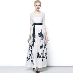 estRunway Maxi Dress Women's Casual Long sleeve White Floral Print Long Dress $68.30   => Save up to 60% and Free Shipping => Order Now! #fashion #woman #shop #diy  http://www.clothesdeals.net/product/high-quality-2015-newest-fashion-designer-runway-maxi-dress-womens-casual-long-sleeve-white-floral-print-long-dress