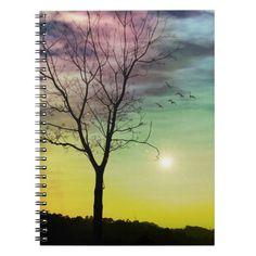 WINTER SUN AND TREE | Custom Notebook (80 Pages B&W)  He always kept his poise.  tree, sun, bird, winter, sunset, sunrise, trees, nature, branches, winter, light, colorful, wintertime, atmospheric, snow, evening, seasons, weather, sunlight, phenomenon, birds, Custom, Personalized, Custom Notebook