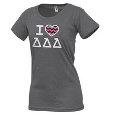 Campus Classics - Tri Delta Ladies Fitted Charcoal I Heart Tee: $21.95