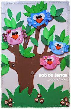.::BAÚ DE LETRAS::. E.v.a. e Scrapbook: Árvore de Corujinhas