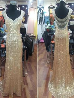 Long Custom Prom Dress, Gold Sequin prom dress,