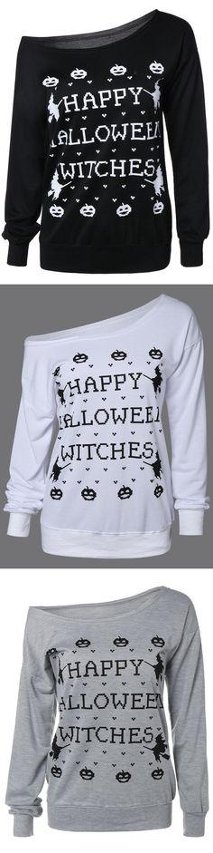 Happy Halloween | $9.33 | Halloween Letter Sweatshirt  | Sammydress.com