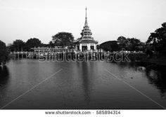 thai architecture middle water. in Park celebration thailand.